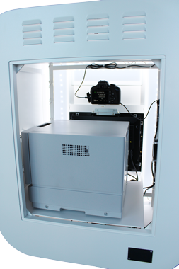 Inside photo booth are thermosublimation printer DNP DS-RX1, camera Canon 1200d, ELO capacitive touchscreen monitor and gigabyte mini PC,