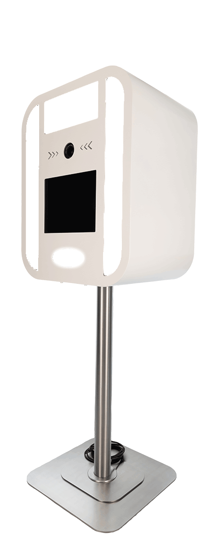 Backside of white photo booth. Great modern design. Smart waterproof solution.